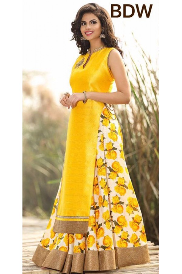 648d406d6372 Bollywood Replica - Wedding Wear Floral Yellow One-Piece Gown ...