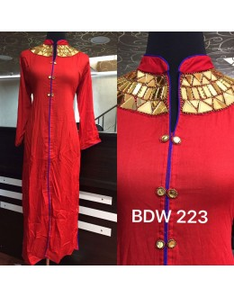 Bollywood Inspired - Ready-Made Designer Red Long Kurti - BDW223-3
