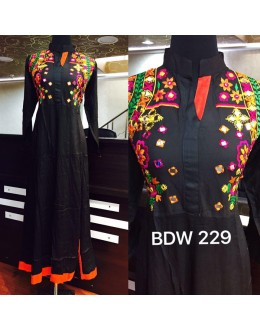 Bollywood Inspired - Ready-Made Designer Black Long Kurti - BDW229-1