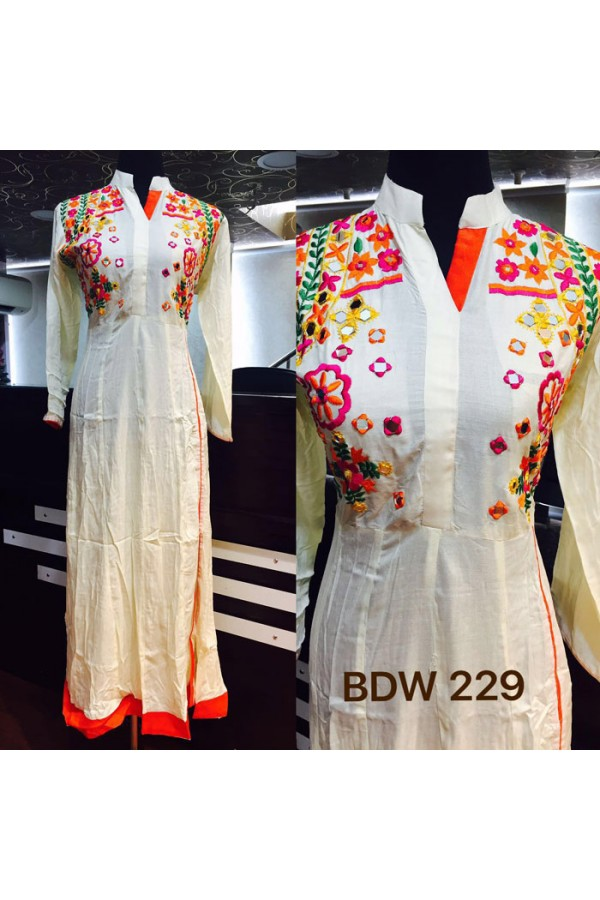 Bollywood Inspired - Ready-Made Designer Off-White Long Kurti - BDW229