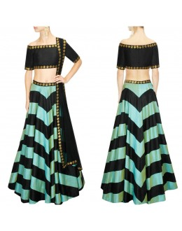 Bollywood Replica - Navratri Special Mint & Black Raw Silk Lehenga Choli - BM