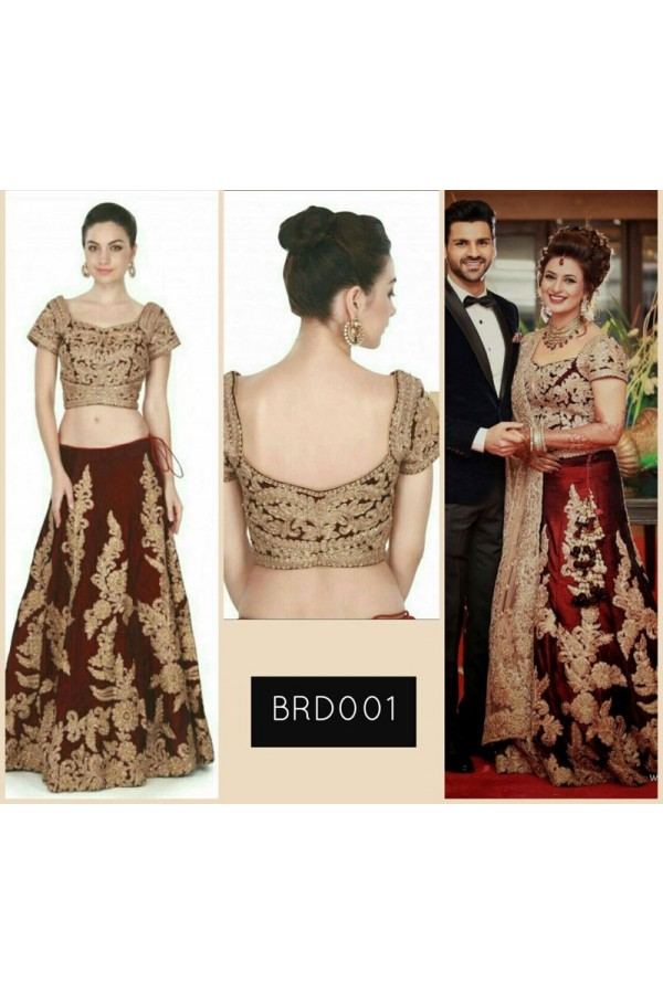 Bollywood Replica - Divyanka Tripahti In Bridal Red Velvet Lehenga Choli - BRD001