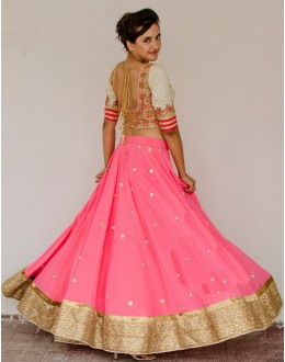 Bollywood Replica - Designer Pink Pure Viscose Georgette Lehenga Choli - Bolly-63