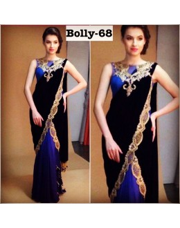 Bollywood Replica - Designer Black & Black Half & Half Saree - Bolly-68