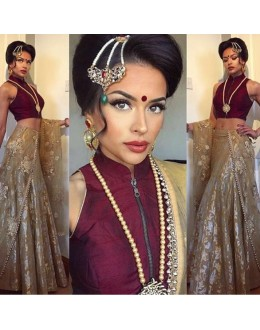 Bollywood Replica - Bridal Wear Beige & Maroon Lehenga Choli - Bridal01