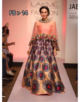 Bollywood Replica -  Karishma Kapoor in Multi-Colour Cape Lehenga - FB-14