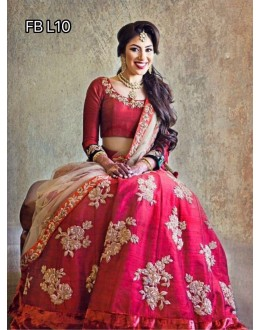 Bollywood Style - Wedding Wear Red Silk Lehenga Choli - FB L10
