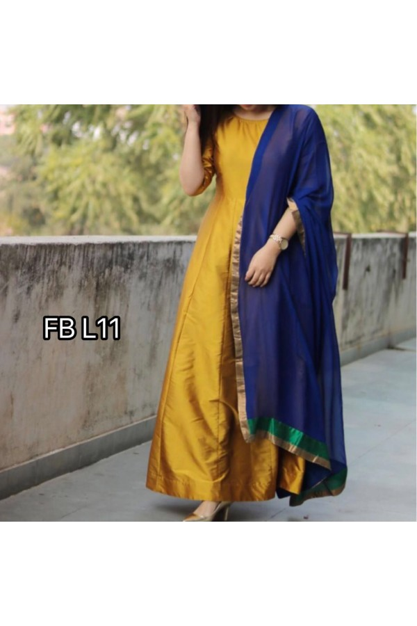 Bollywood Style - Adorable Yellow Silk Anarkali Suit - FB L11