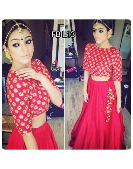 Bollywood Style - Party Wear Hot Red Silk Lehenga Choli  - FB L13