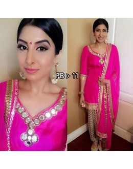 Bollywood Replica - Weddng Wear Pink Mirror Work Patiala Suit - FB>11