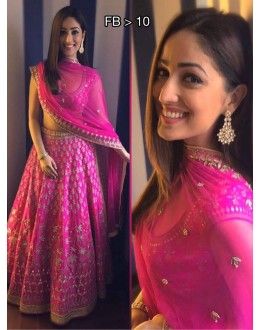 Bollywood Replica - Yami Gautam In Designer Pink Silk Lehenga Choli - FB-10