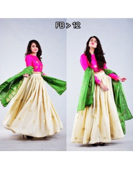 Bollywood Replica - Party Wear Off-White & Pink Silk Lehenga Choli - FB-12