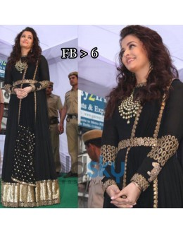 Bollywood Replica - Aishwarya Rai In Black Designer Anarkali Suit - FB-6