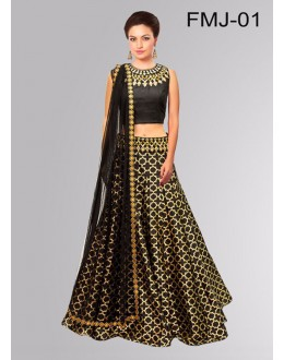 Bollywood Replica - Designer Black Jacquard Silk Lehenga Choli - FMJ-01