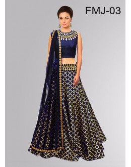Bollywood Replica -Party Wear Dark Blue Jacquard Silk Lehenga Choli - FMJ-03