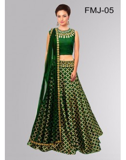 Bollywood Replica -Designer Green Jacquard Silk Lehenga Choli - FMJ-05