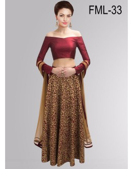 Bollywood Replica - Party Wear Maroon & Beige Lehenga Choli - FML-33