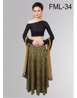 Bollywood Replica - Party Wear Black & Beige Lehenga Choli - FML-34