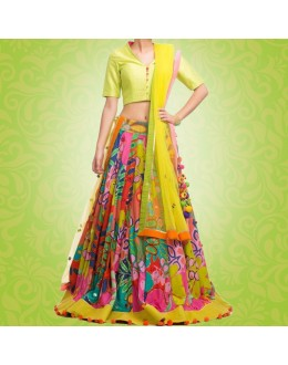 Bollywood Replica - Party Wear Multi-Coloured Pure Satin Lehenga Choli - G01