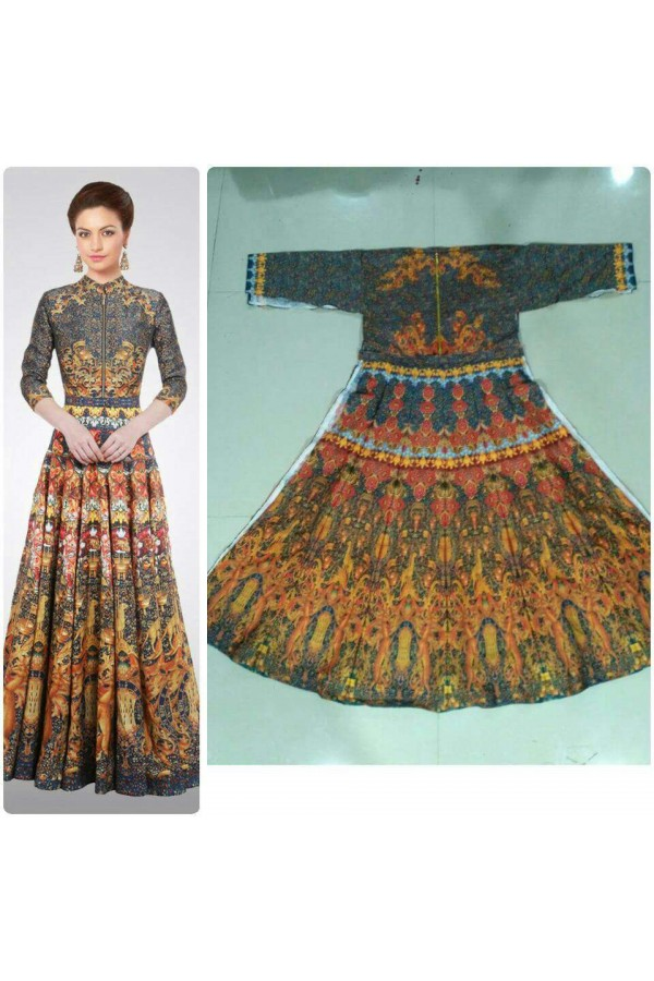 Bollywood Style - Party Wear Multi-Colour Twill Silk Gown - GM03