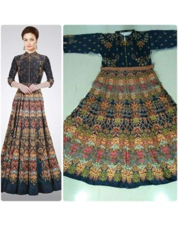 Bollywood Style - Party Wear Multi-Colour Twill Silk Gown - GM06