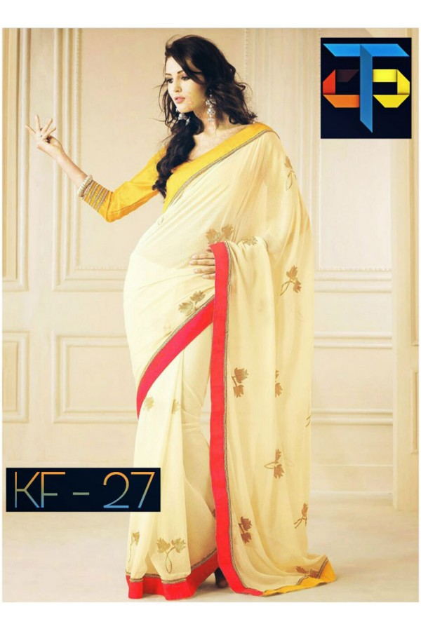 Bollywood Inspired - Party Wear Cream Georgette Saree - KF-27