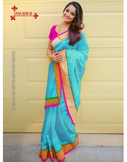 Bollywood Inspired - Chanderi Silk Cotton Blue Saree - KM-908-B