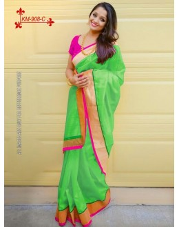 Bollywood Inspired - Chanderi Silk Cotton Green Saree - KM-908-C