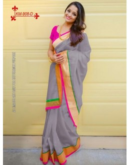 Bollywood Inspired - Chanderi Silk Cotton Grey Saree - KM-908-D