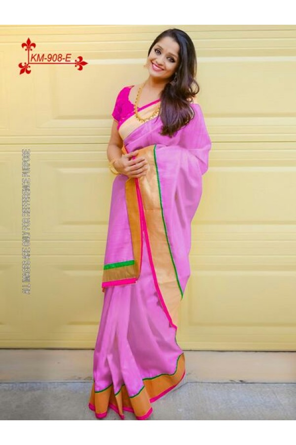 Bollywood Inspired - Chanderi Silk Cotton Pink Saree - KM-908-E