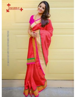 Bollywood Inspired - Chanderi Silk Cotton Red Saree - KM-908-H