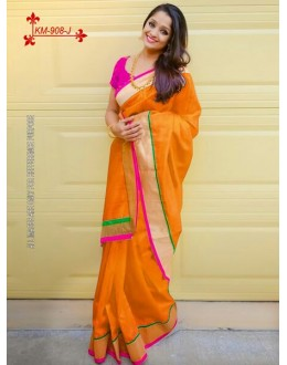 Bollywood Inspired - Chanderi Silk Cotton Orange Saree - KM-908-J
