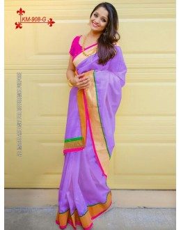 Bollywood Inspired - Chanderi Silk Cotton Purple Saree - KM-908-G