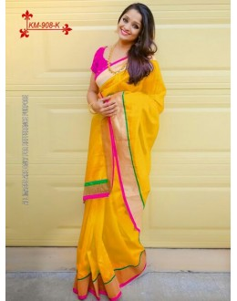 Bollywood Inspired - Chanderi Silk Cotton Yellow Saree - KM-908-K