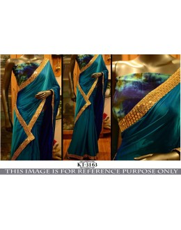 Bollywood Inspired - Party Wear Blue Paper Silk Georgette Saree - KT-3163