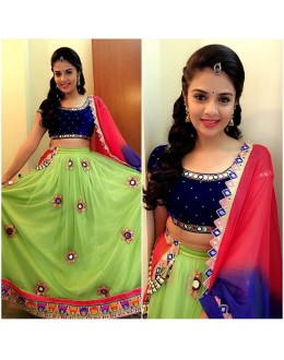 Bollywood Replica - Wedding Wear Lime Green & Blue Lehenga Choli - L008