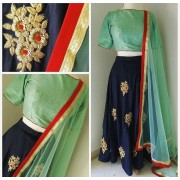 Bollywood Style - Party Wear Navy Blue Silk Lehenga Choli  - L012