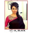 Bollywood Replica - Divyanka Triphati In Black Chanderi Cotton Saree - MF-10-Black