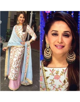 Bollywood Replica - Madhuri Dixit In White & Pink Salwar Suit - M01