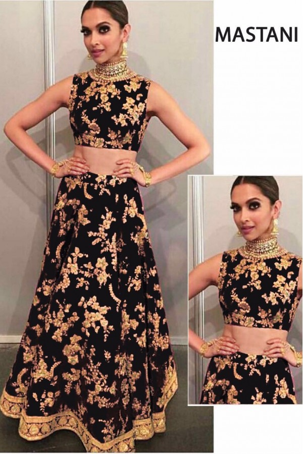 Bollywood Replica - Deepika Padukone In Black Silk Lehenga Choli -  Mastani02