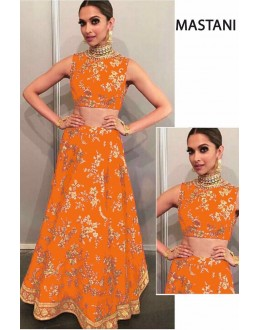 Bollywood Replica - Deepika Padukone In Orange Silk Lehenga Choli -  Mastani03