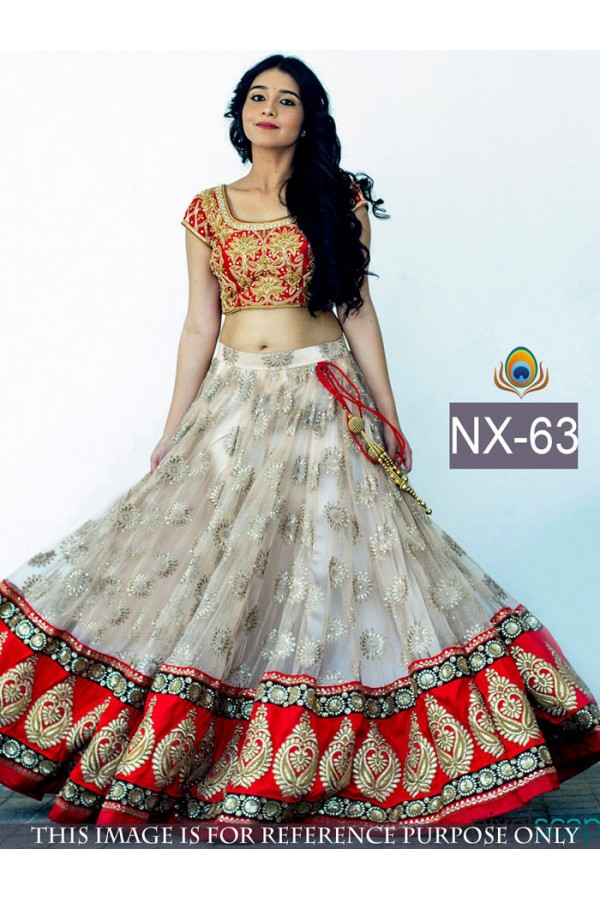 Bollywood Replica - Wedding Wear Red & White Lehenga Choli -  NX-63