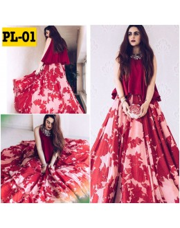 Bollywood Replica - Fancy Satin Silk Red Lehenga Choli - PL-01