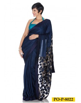 Bollywood Inspired : Mandira Bedi in Designer Blue Satin Georgette Saree - PO-P-8022