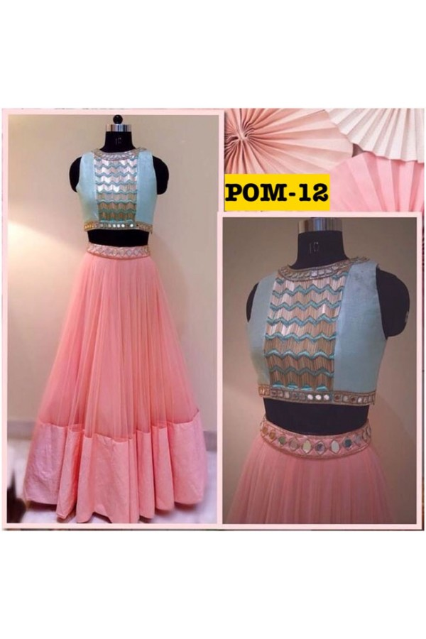 Bollywood Replica - Party Wear Pink & Blue Crop Top Lehenga - POM-12