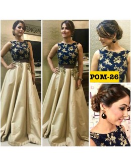 Bollywood Replica - Heena Khan In Blue & Beige Silk Lehenga Choli - POM-26