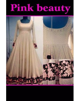 Bollywood Replica - Wedding Wear Cream & Black Anarkali Suit - PINK BEAUTY-A