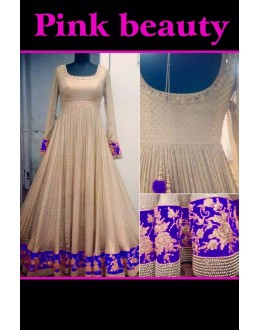 Bollywood Replica - Wedding Wear Cream & Violet Anarkali Suit - PINK BEAUTY-C