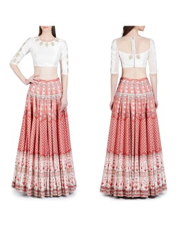Bollywood Replica - Designer Porcelain White & Pink Crop To Lehenga - S1005