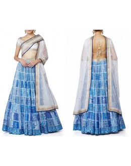Bollywood Replica -  Wedding Wear Blue & Ivory Lehenga  - S1006-Blue